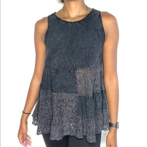 altar'd state shirt lace block tank top M charcoal